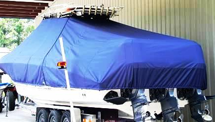 Wellcraft Scarab 35CCF, 20xx, TTopCovers™ T-Top boat cover, port rear