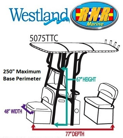 T-Top-Console-Cover-Westland-Large™Westland(r) p/n 5075TTCA Large (48-inch Wide(W) x 77-inch Deep(D) x 67-inch High(H), 250-inch Maximum Base Perimeter Center Console, Helm Seat and front Cooler Seat WITH T-Top) Universal (non-OEM) Center Console Cover for Boat With T-Top, Sunbrella(r) fabric