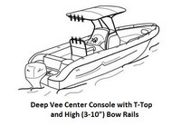 Under-T-Top-Cover-Westland-Deep-Vee-Center-Console-Single-O/B-High-Bow-Rails™Westland(r) Universal (non-OEM) Sunbrella(r) fabric Under T-Top Boat Cover for  Deep Vee Center Console, Single O/B, High Bow Rails style boat (Rails up to 10-inches)