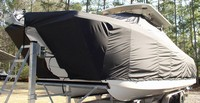 World Cat® 320 CC T-Top-Boat-Cover-Wmax-2749™ TTopCover(tm) T-Top or Hard-Top Boat-Cover (Weathermax -80(tm) 8oz./sq.yd. fabric) connects to underside of T-Top or Hard-Top frame to cover entire boat, bow, helm, cockpit and motor(s). Custom patterned (not a generic fit cover) for tight fit