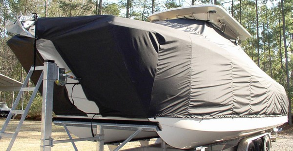 World Cat 320 DC, 20xx, TTopCovers™ T-Top boat cover, port front