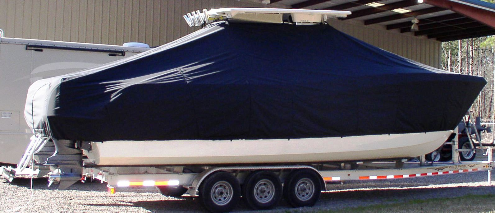 World Cat 320 DC, 20xx, TTopCovers™ T-Top boat cover, starboard side