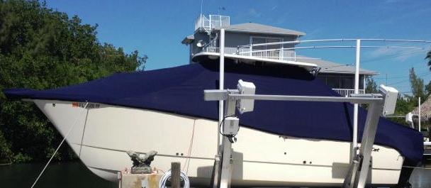Worldcat 290, 20xx, TTopCovers™ T-Top boat cover On Lift, port side