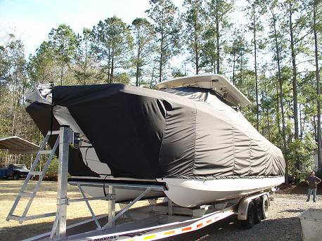 Worldcat 320, 20xx, TTopCovers™ T-Top boat cover, port front