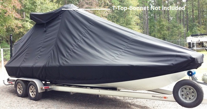 Yellowfin 24CC, 20xx, TTopCovers™ T-Top boat cover T Top Bonnet (not included), starboard front