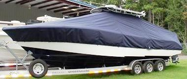 Yellowfin 32CC, 20xx, TTopCovers™ T-Top boat cover, port front