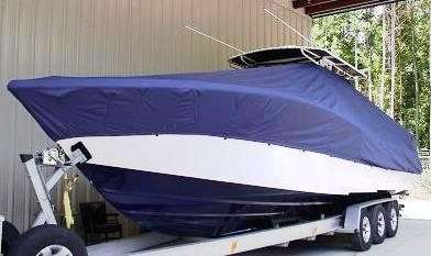 Yellowfin 34CC, 20xx, TTopCovers™ T-Top boat cover, port front