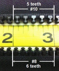 Zipper Sizes #8 and #10